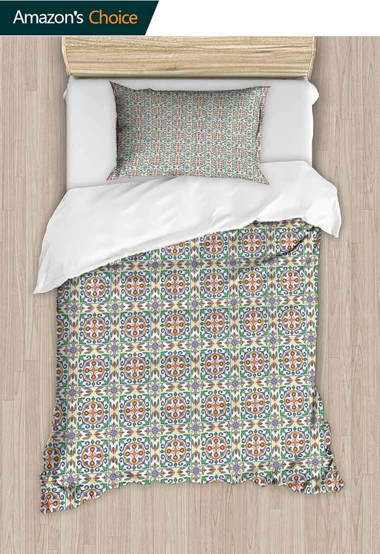 Geometric Custom Made Quilt Cover and Pillowcase Set, Spanish Culture Inspired Ornamental Symmetric Floral Arrangement Vivid Palette, Cool 3D Outer Space Bedding Digital Print - 2 Piece Multicolor by carmaxshome