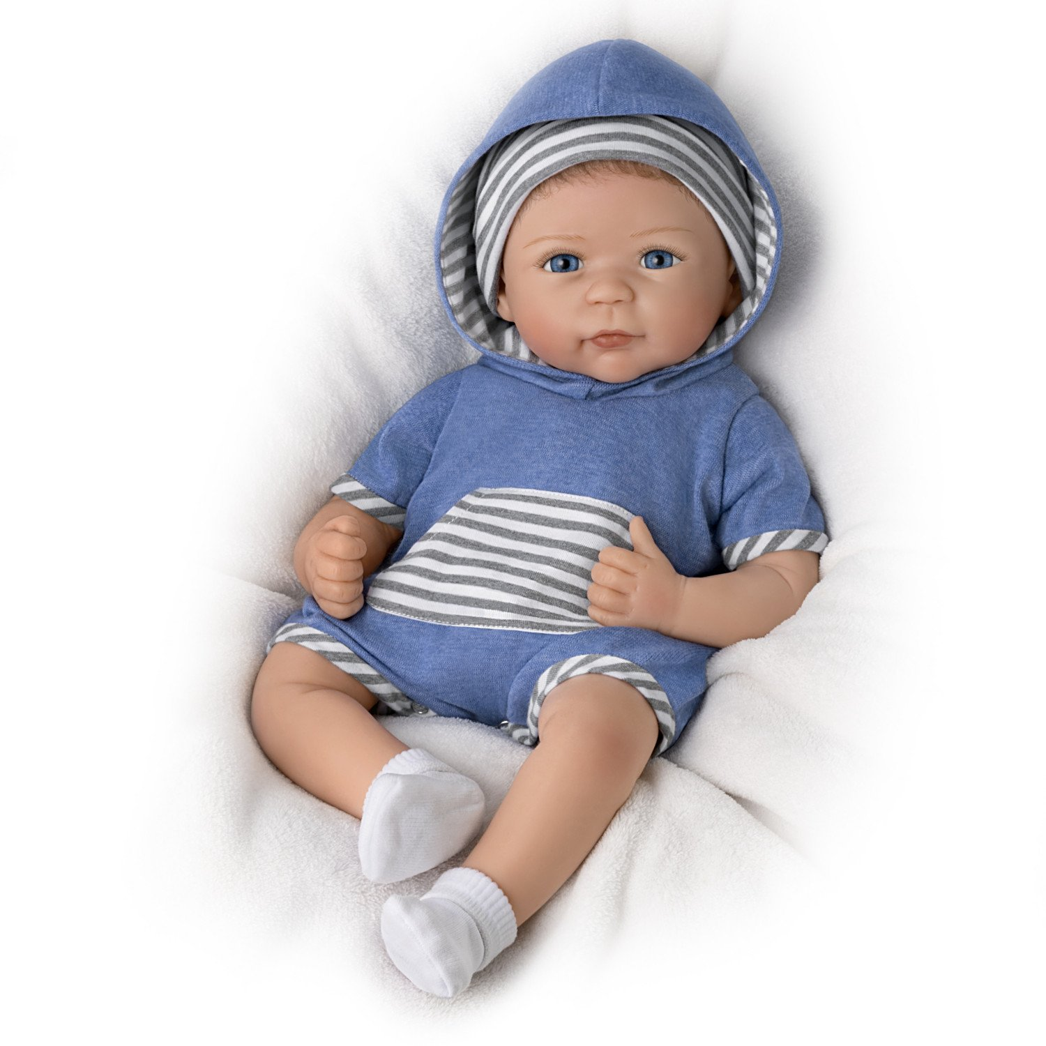 The Ashton-Drake Galleries Linda Murray Lifelike Weighted Silicone Baby Doll with Rooted Hair
