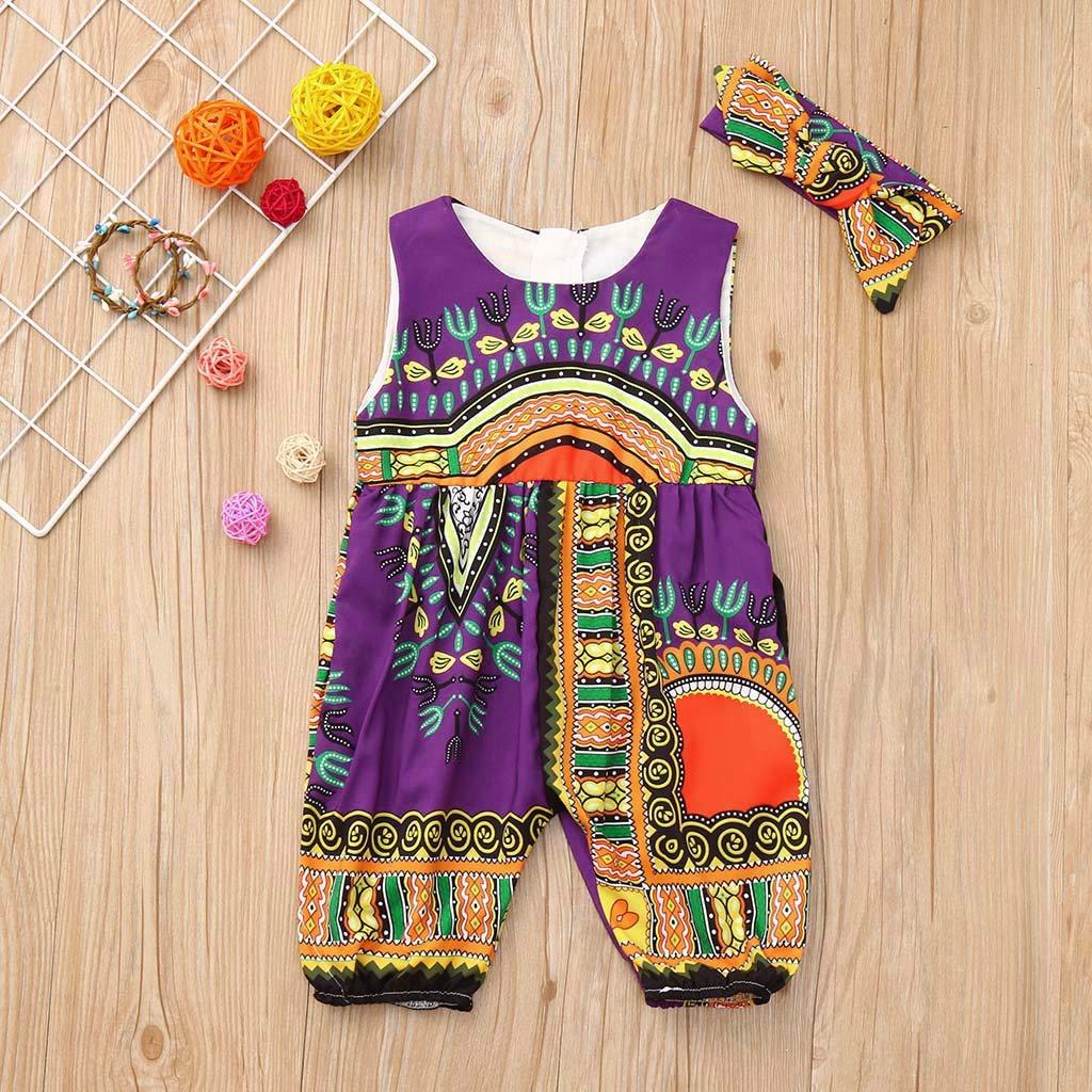 Lonshell Lindo Vestido para ni/ños reci/én Nacidos-ni/ñas beb/és Kawaii Summer African Print Mameluco sin Mangas Conjunto de Dos Piezas Trajes