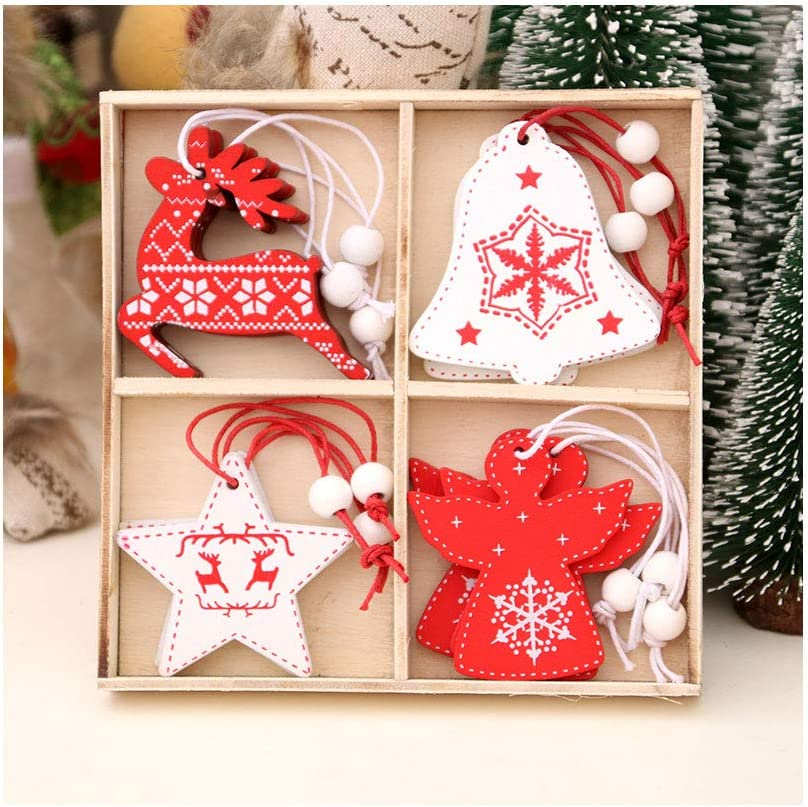 Goocky Christmas Wooden Hanging Ornaments, 12 PCS Wood Slices for Christmas Tree Decorations, Kids DIY Crafts, Party Accessories, Gift Tags (A)