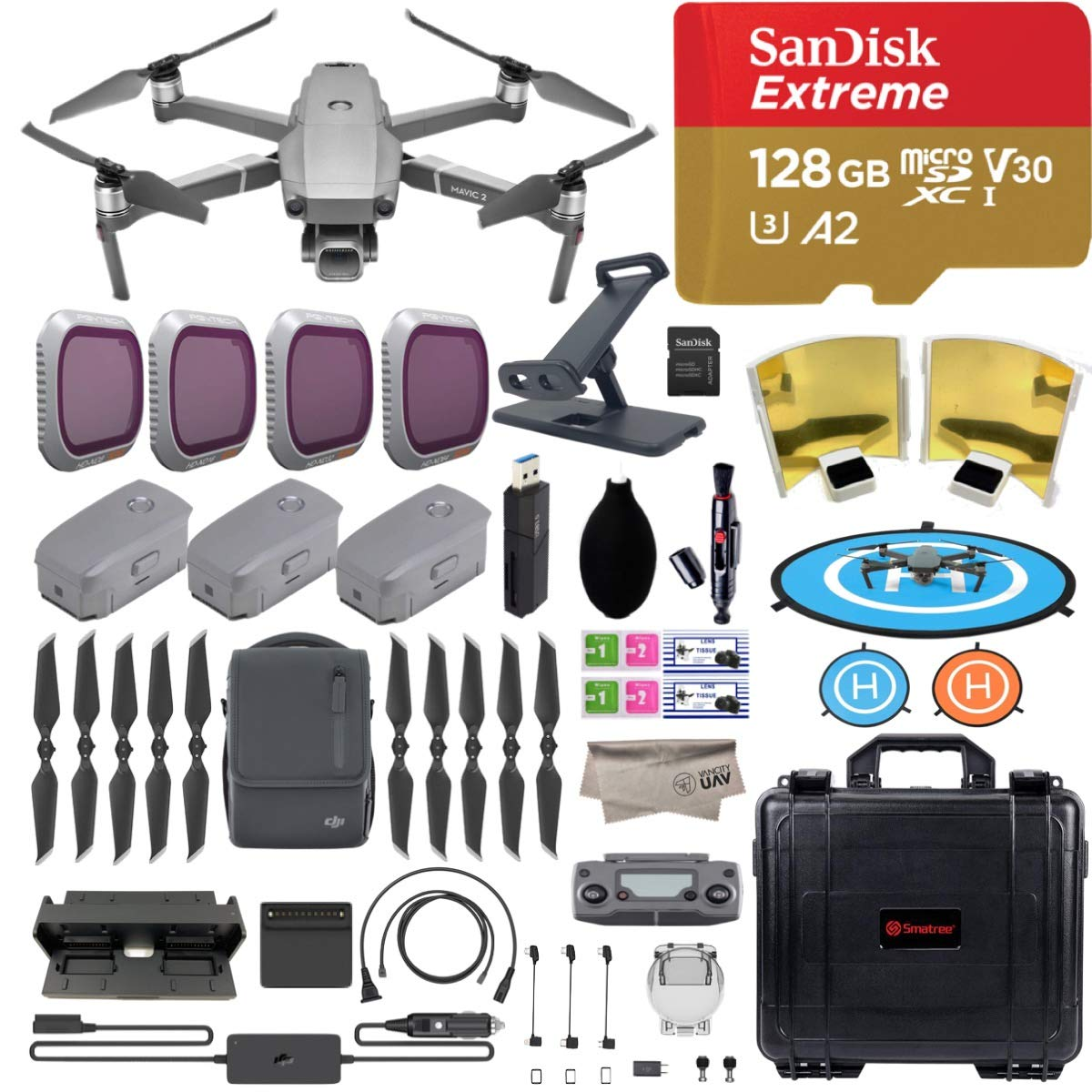 DJI Mavic 2 Pro Drone Quadcopter with Fly More Combo, Hasselblad Camera, 3 Batteries, PGY ND Filters & Pad Holder, 128GB Extreme Micro SD, Landing Pad, Signal Booster, Waterproof Hard Carrying Case by DJI