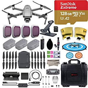 DJI Mavic 2 Pro Drone Quadcopter with Fly More Combo, Hasselblad Camera, 3 Batteries, PGY ND Filters & Pad Holder, 128GB Extreme Micro SD, Landing Pad, Signal Booster, Waterproof Hard Carrying Case