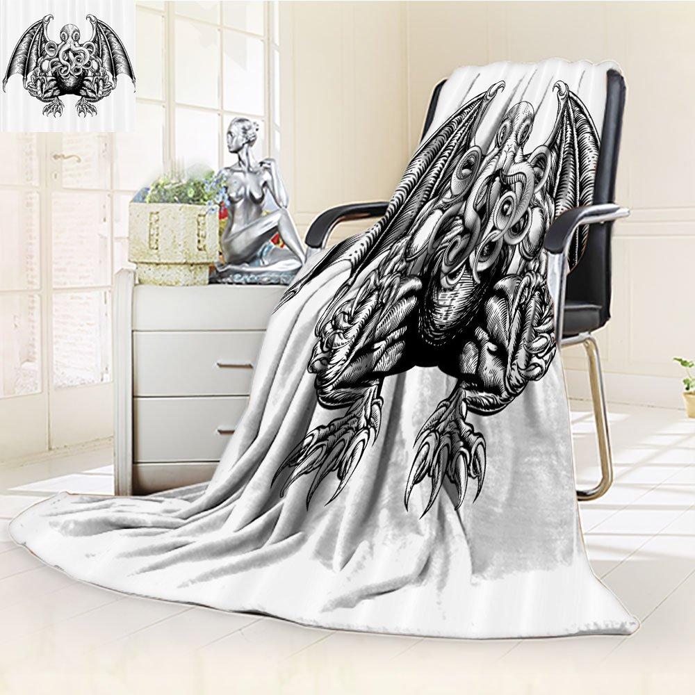 Kraken Custom Blanket by Nalohomeqq Cthulhu Monster Evil Fictional Cosmic Monster in Woodblock Style Illustration Fabric Custom Hypoallergenic Printed Fleece Blanket Black White