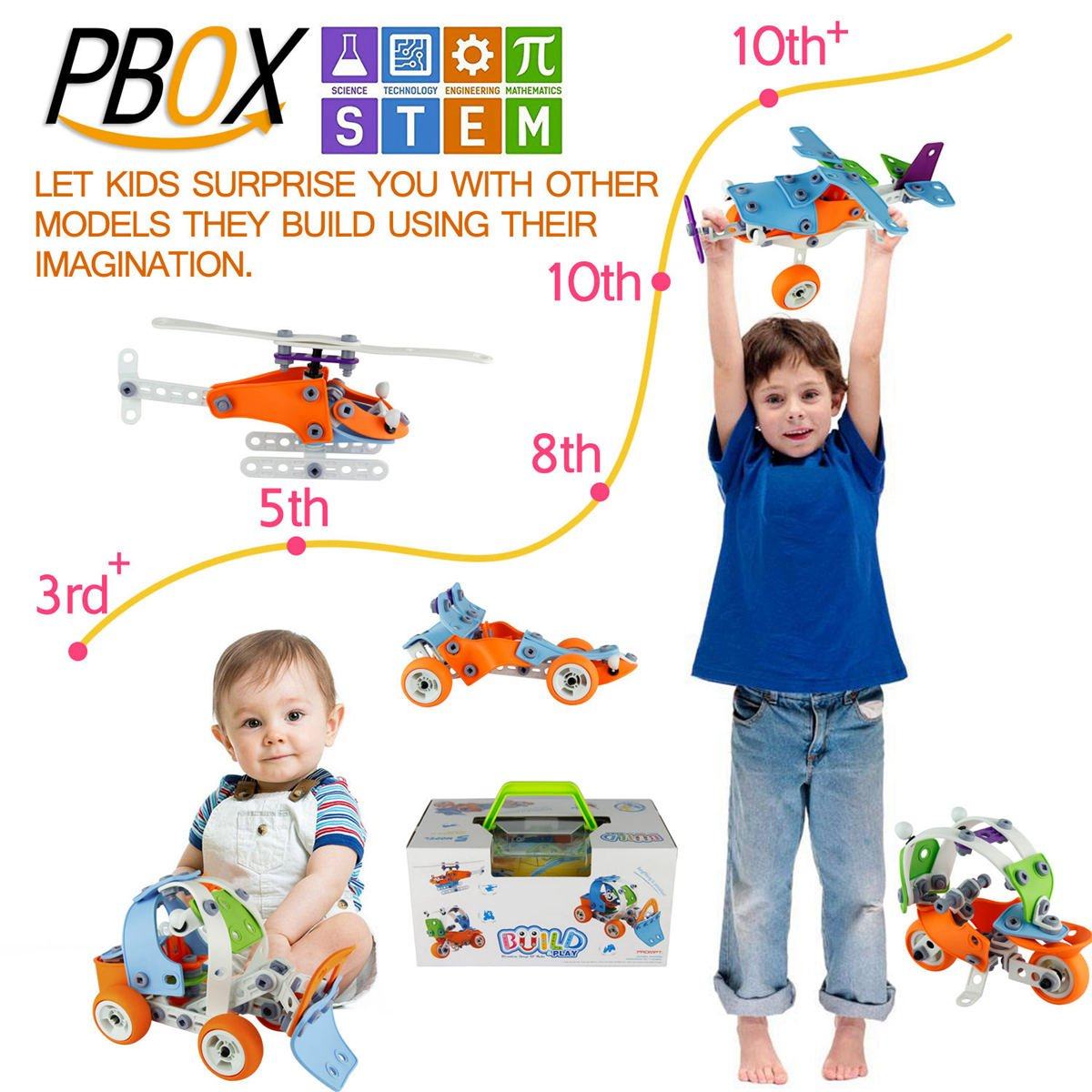 PBOX 132PCS,5-in-1 Toddler Building Construction Set,Building Truck kit STEM Educational Engineering Building Blocks Toy kit for 4-5+Year Old Boys/&Girls