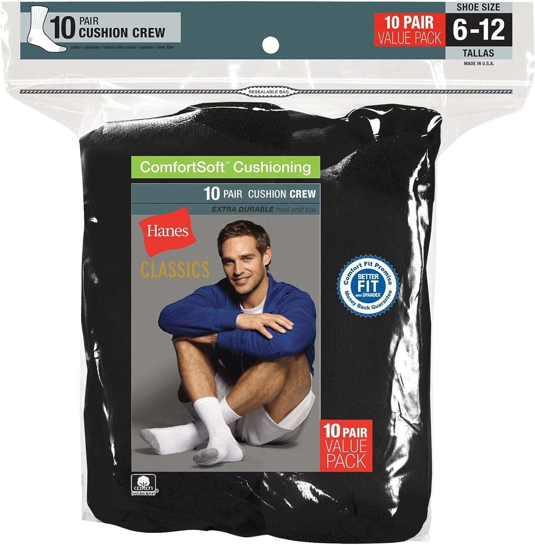 Hanes Classics Men's White Crew Socks 10-Pack-43021-Black