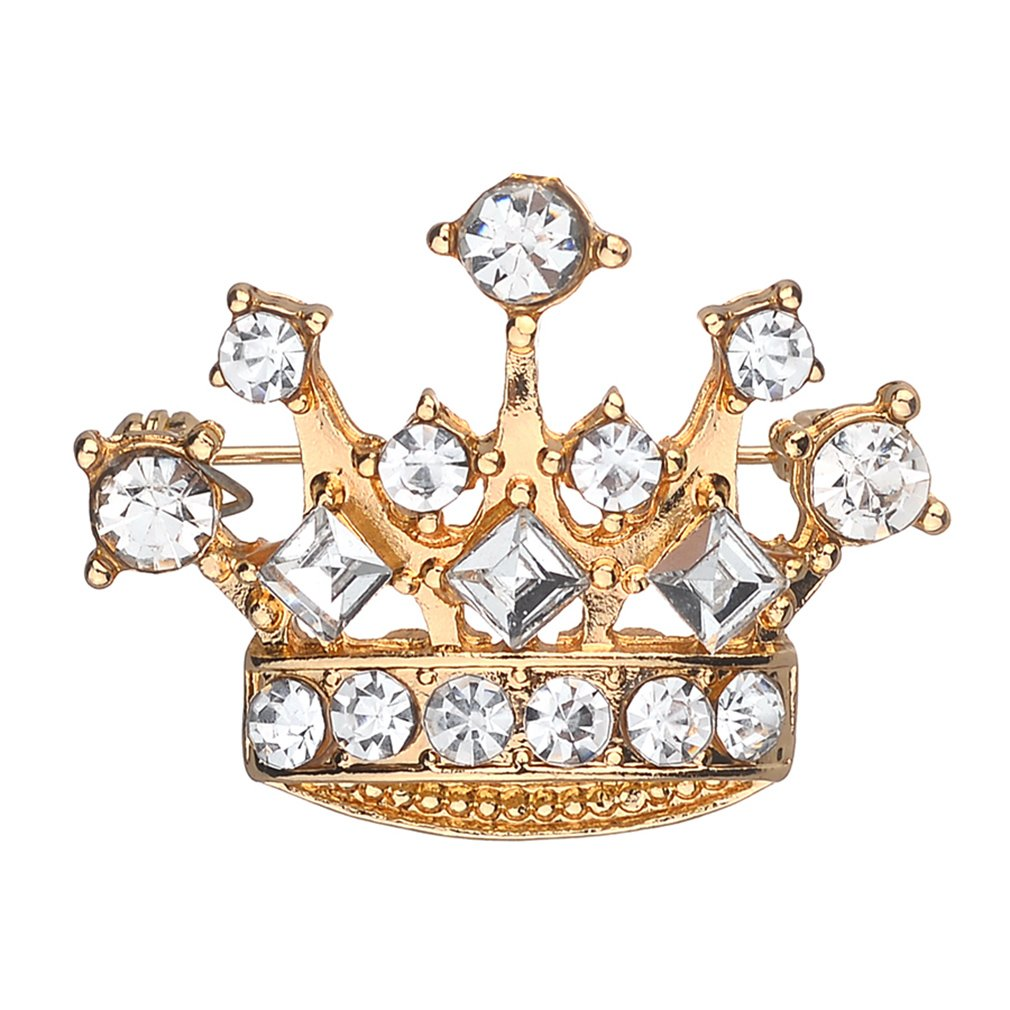 TraveT Personalized Diamond Crystal Crown Brooch For Women Girls
