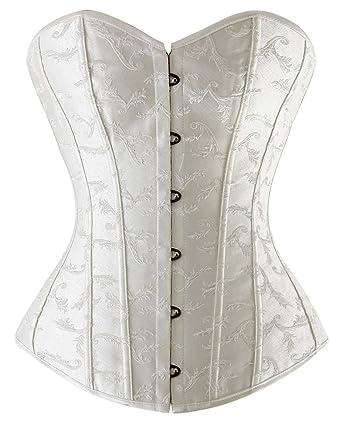 b86c15676da Charmian Women s Satin Bridal Overbust Boned Wedding Dress Bustier Corset  Top White Small