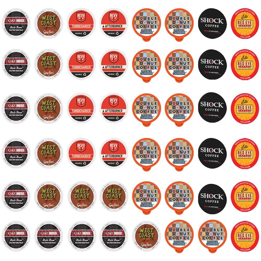 High Caffeine Coffee Pods Variety Pack - Sample The Strongest Coffee From the Top Brands with Our Extra Caffeine Sampler of 50 Coffee Pods Compatible with Keurig K Cup Coffee Makers