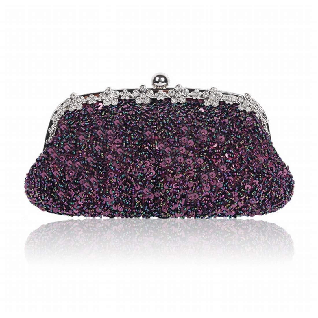Klerokoh damen Perlen Abendtasche Multi Farbe Farbe Farbe Hochzeit Clutch Geldbörse für Damen (Farbe   lila) B07Q8GCP56 Clutches Fein wild c112f5