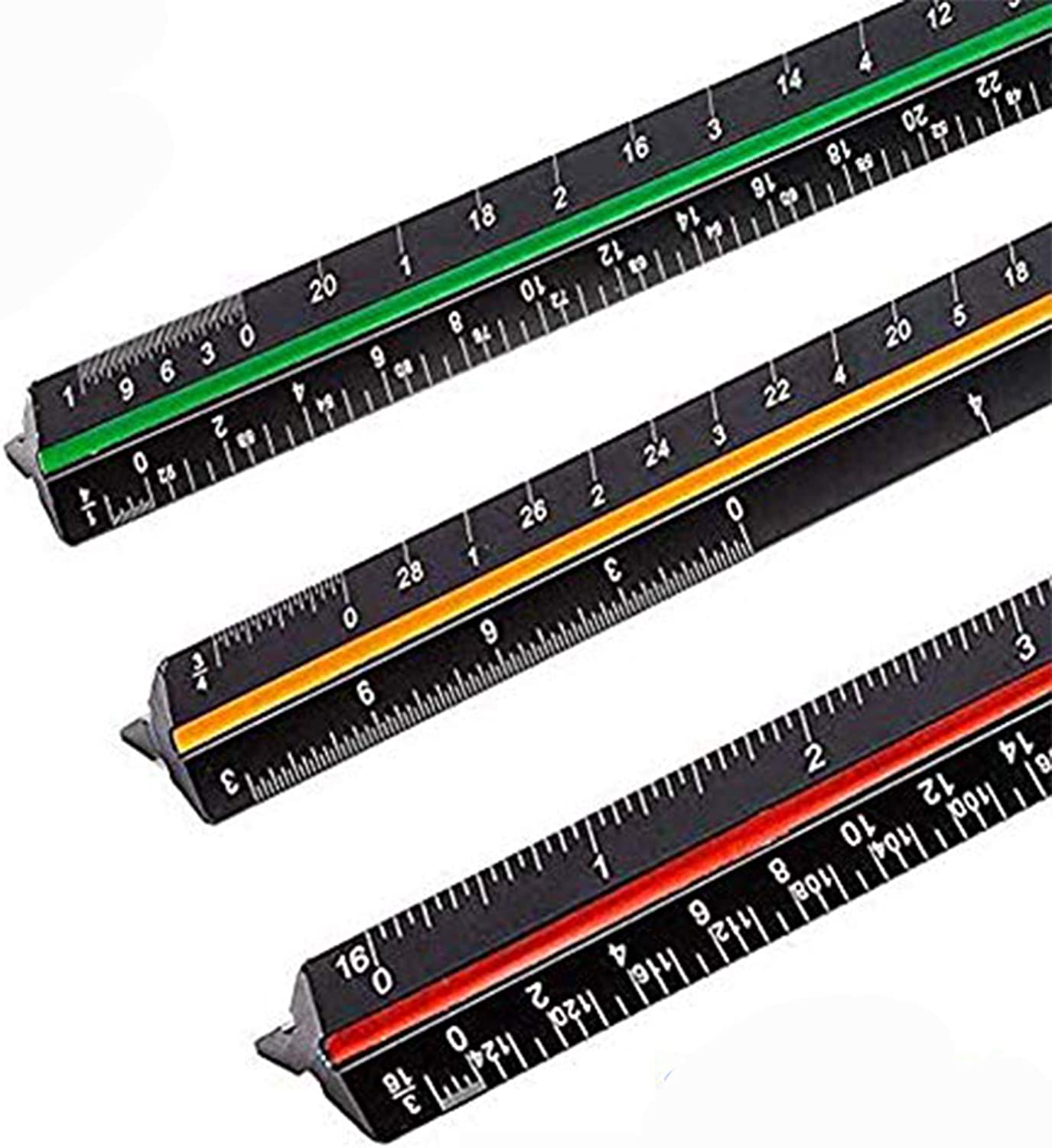 """Sooez 12"""" Architectural Scale Ruler, Aluminum Color-Coded Grooves Triangular Scale Laser Etched Metal Triangular Architect Scale Ruler Solid Architecture Ruler, 1 Pack (Black)"""