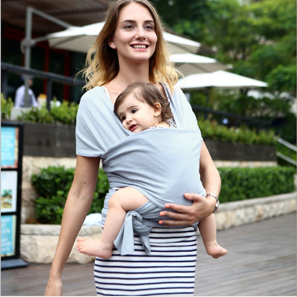 Abandship Baby Wrap Carrier from Birth to Toddler, Gender Neutral Soft Baby Carrier Cotton Wrap for Infants up to 44lbs/20kg, Suitable for Both Moms and Dads, Soft & Comfortable Gray Wrap shenzhen