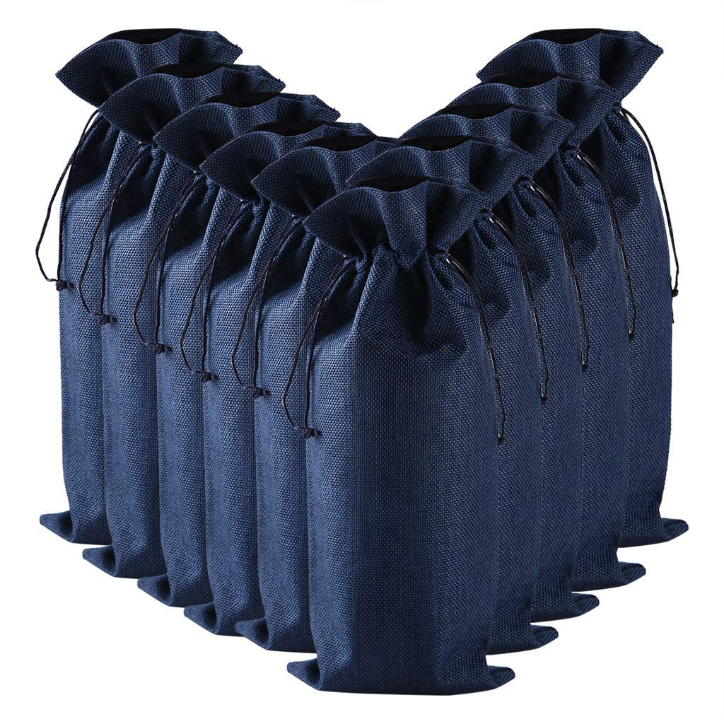 1KTon 10pcs Linen Wine Bags Wine Bottle Cover Wine Bottle Gift Bags with Drawstring by 1KTon