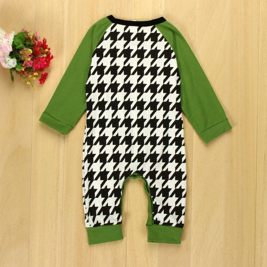 Igemy Newborn Baby Boy Girl Houndstooth Long Sleeve Romper Jumpsuit Outfits Clothes