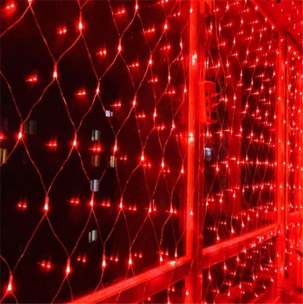 LUCKY CLOVER-A 320 LED 3 * 2 Meter Fairy Mesh Net Lights Festival Thanksgiving Carnival Birthday Wedding party Xmas Decor Outdoor Indoor Waterproof Night Light(red,green), Couple