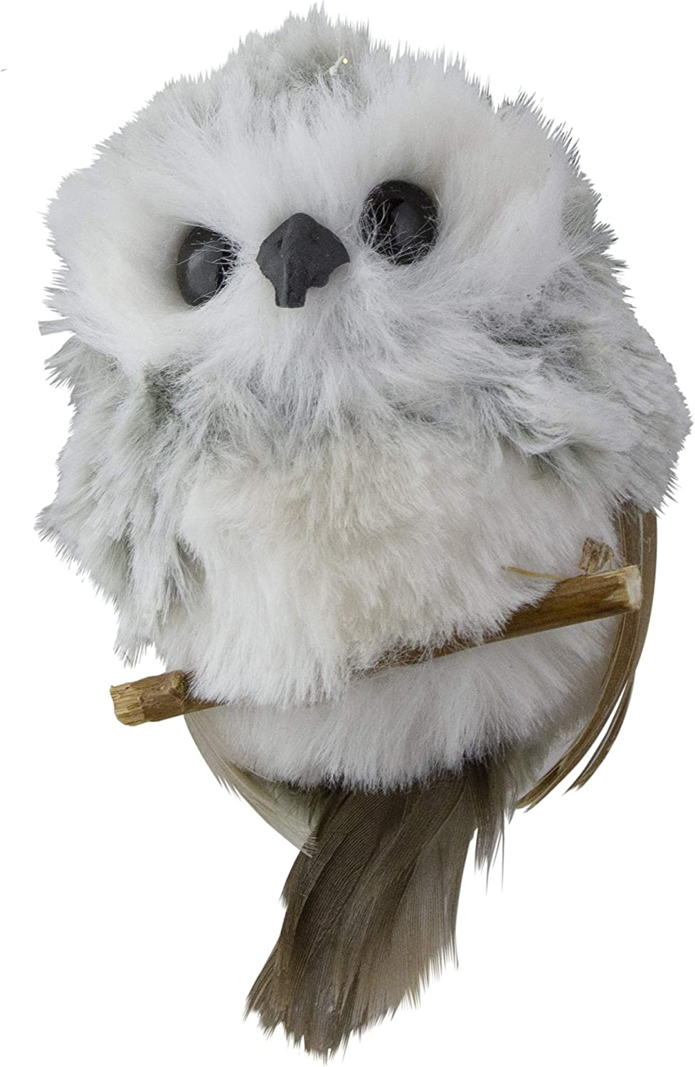 "Kurt Adler 3.5"" White and Gray Fluffy Baby Owl on Perch Christmas Ornament"