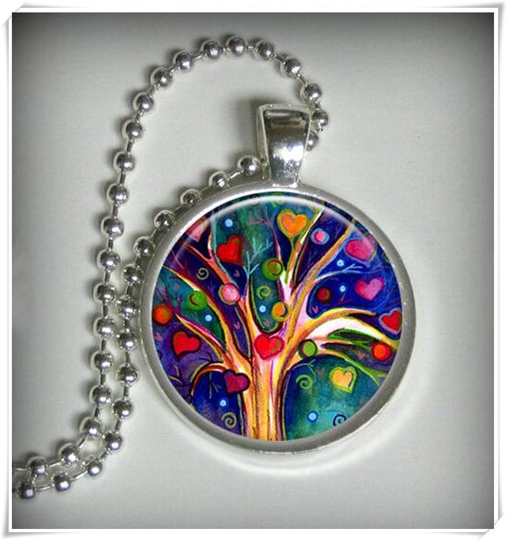 Árbol de amor colgante Charm, corazón árbol de collar colgante