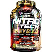 MuscleTech NitroTech Whey Gold 100%乳清蛋白粉 Whey Isolate and Whey Peptides 香草味 5.53磅(2.51kg)