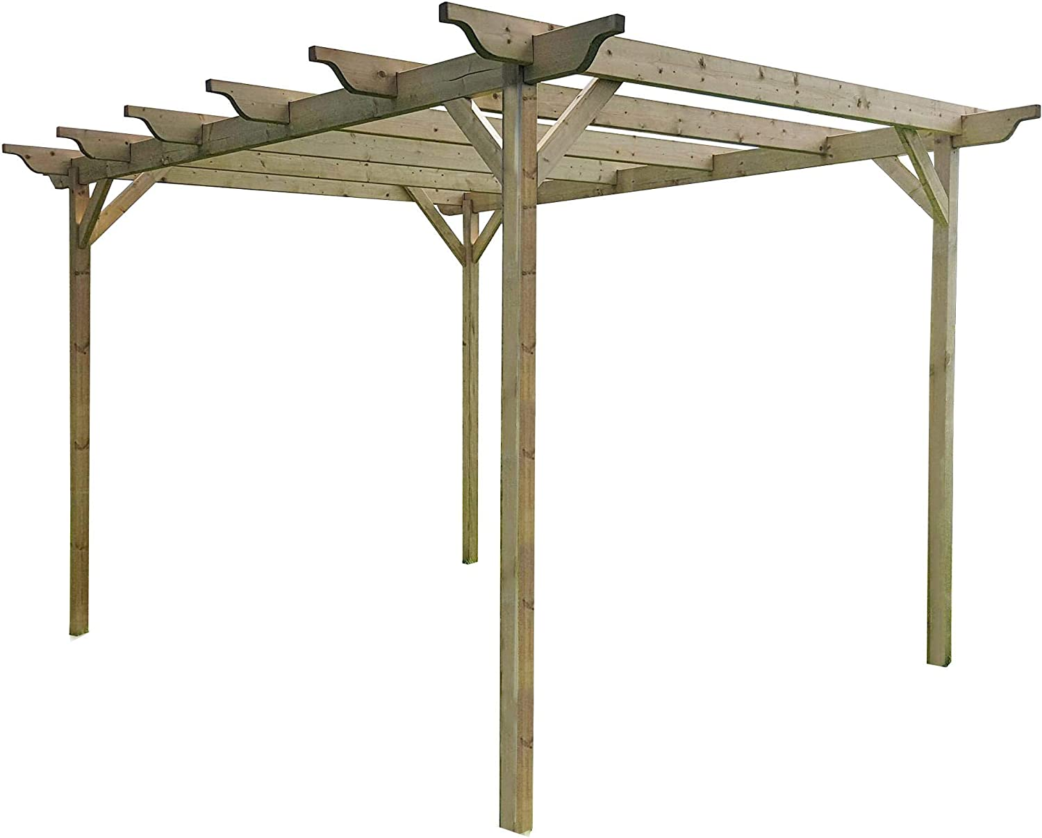 Sculpted Wooden Garden Pergola Kit Exclusive Pergola Range Largest On Amazon Light Green Or Rustic Brown Finish 3m X 3 6m 4 Posts Light Green Natural Amazon Co Uk Garden Outdoors