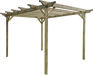 GMS TIMBER LTD Kit de pérgola de jardín de madera – Exclusiva gama de pérgola – más grande en Amazon – verde claro o rústico acabado marrón: Amazon.es: Jardín
