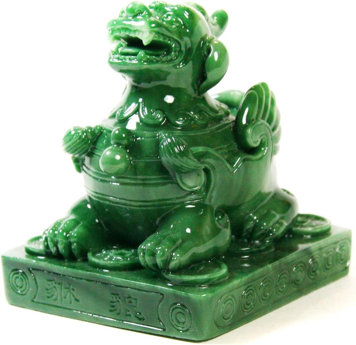 Estatua de Pi Xiu color verde Art Saigon Feng Shui El quinto Animal de la mitolog/ía china S/ímbolo de Fortuna y de riqueza altura 12,5 cm ref. GK2412