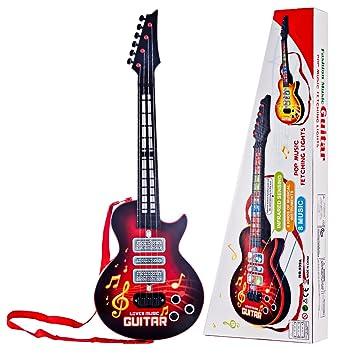 YAKOK 4 Cuerdas Guitarra Electrica Niños Guitarra Bebe Juguete para Niños y Niñas 2-5 años (Rojo)
