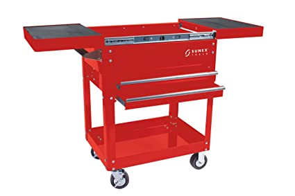 sunex 8035r compact slide top utility cart, red - service carts ...