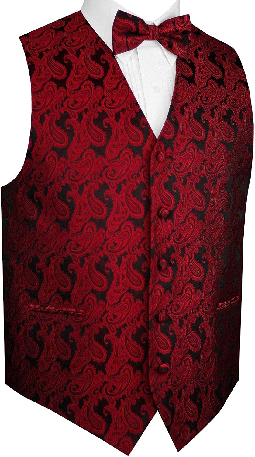 Men's Formal, Prom, Wedding, Tuxedo Vest, Bow-Tie & Hankie Set in Paisley