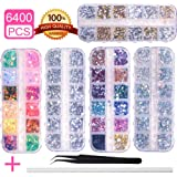 6400pcs Nail Art Rhinestones Nail Crystal Gems Nail Diamonds, Gold Silver Nail Art Studs Colorful Nail Sequins & Rhinestones for Nails Kit with Tweezers and Wax Pen for Nail Art Supplies Accessories