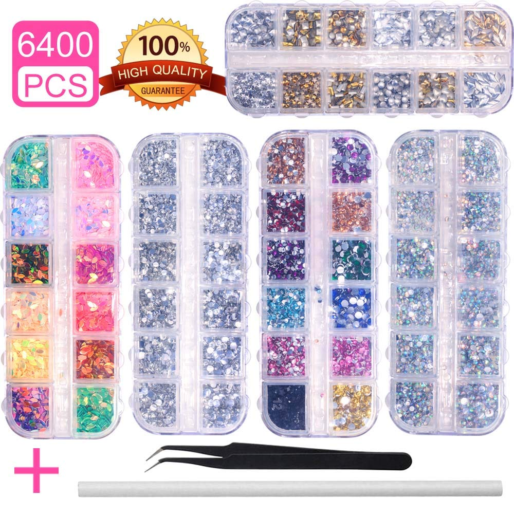 6400pcs Nail Art Rhinestones Nail Crystal Gems Nail Diamonds, Gold Silver Nail Art Studs Colorful Nail Sequins & Rhinestones for Nails Kit with Tweezers and Wax Pen for Nail Art Supplies Accessories by amokia