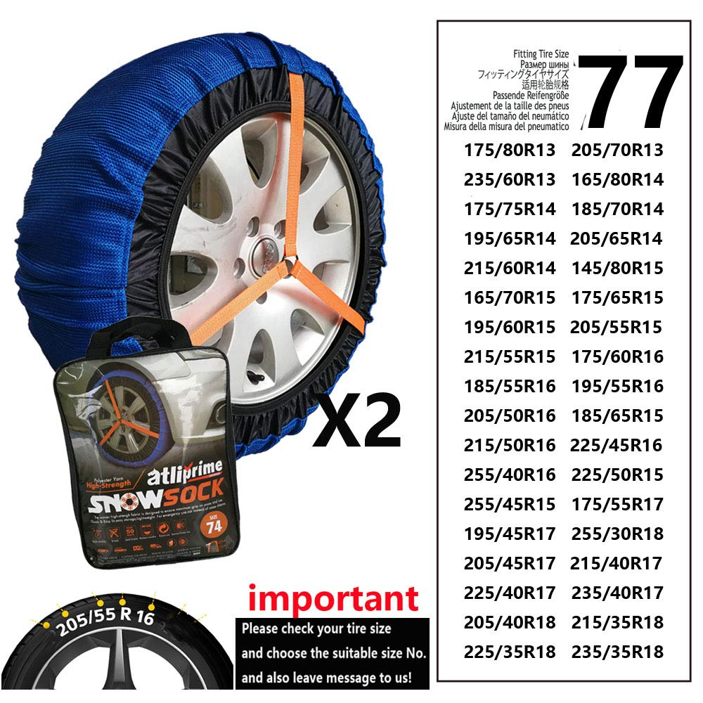 atliprime 2pcs Anti-Skid Safety Ice Mud Tires Snow Chains Auto Snow Chains Fabric Tire Chains Auto Snow Sock on Ice and Snowy Road (AT-SB77) by atliprime