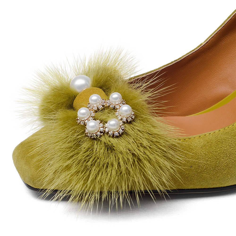 Nine Seven Suede Leather Women's Square Toe Chunky Heel Pearls Handmade Pumps Shoes with Fur (10.5, Yellow) by Nine Seven (Image #7)