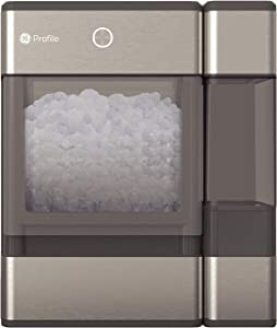 GE PROFILE OPAL01GEPKT Opal Nugget Ice Maker-Countertop, Stainless Steel Wrap with Gray Accents & LED Lighting