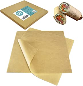 [250 Sheets] 12x12 Inch Kraft Deli Paper Sheets Sandwich Wrap - Natural Brown Food Basket Liners, Grease Resistant Wrapper for Pastries, Cookies, Fried Snacks, Barbeque at Bakery, Restaurants, Parties