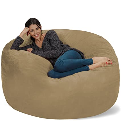 Fantastic Chill Sack Bean Bag Chair Giant 5 Memory Foam Furniture Bean Bag Big Sofa With Soft Micro Fiber Cover Camel Machost Co Dining Chair Design Ideas Machostcouk