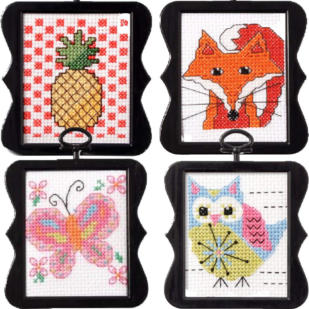 4 Item Beginner Mini Cross Stitch Kits Bundle: Butterfly, Owl, Pineapple & Fox Bucilla