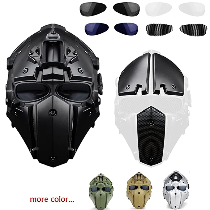 iMeshbean Full Face Protective Mask Tactical Airsoft Helmet with 4 Pairs Visor Goggles for Hunting Paintball Military Motorcycle Cosplay Movie Prop