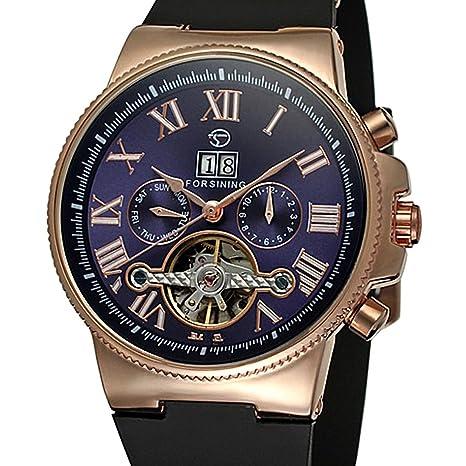 joyliveCY Automático Esqueleto Reloj mecánico automático 4 manos FECHA Tourbillon hombres reloj