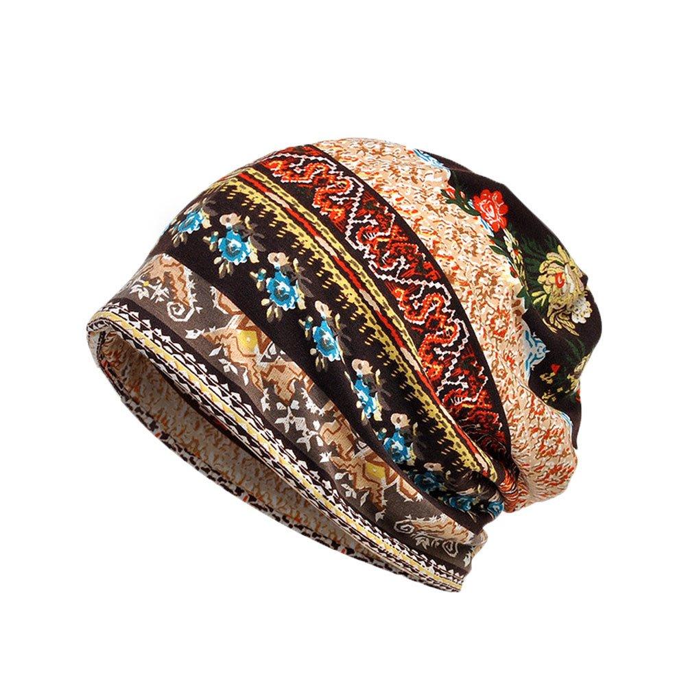 YOMXL Bohemian Unisex Hat,Fashion Print Turban Cap Soft Cozy Cancer Beanie Caps Infinity Scarf Head Wrap Cap