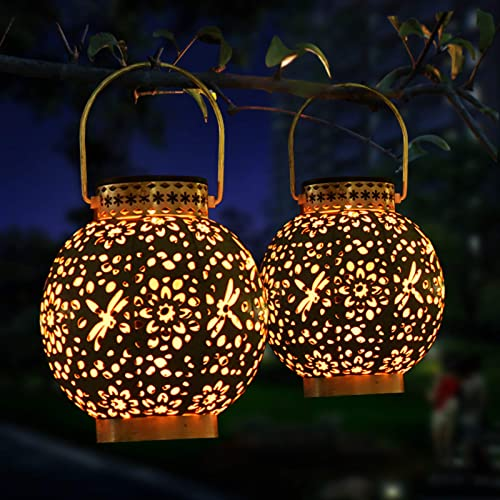 Idefair Solar Lantern Hanging Lights 2 Pack, Metal Outdoor Decorative Retro LED Light with Handle for Patio, Courtyard, Pathway and Garden