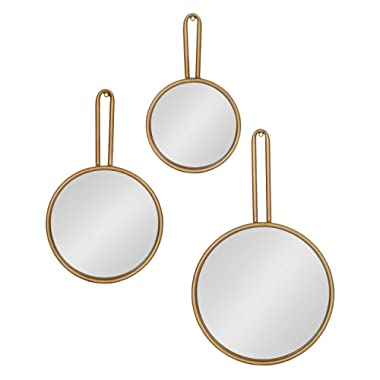 Kate and Laurel Varela Modern Design 3-Piece Decorative Round Metal Mirror Set for Wall Decor in Cascading Sizes, Gold