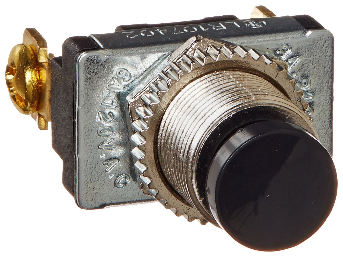 Push Button Switch, Off-On Circut Function, SPST N.O, Plastic Actuator, 3 amps at 125/250 VAC