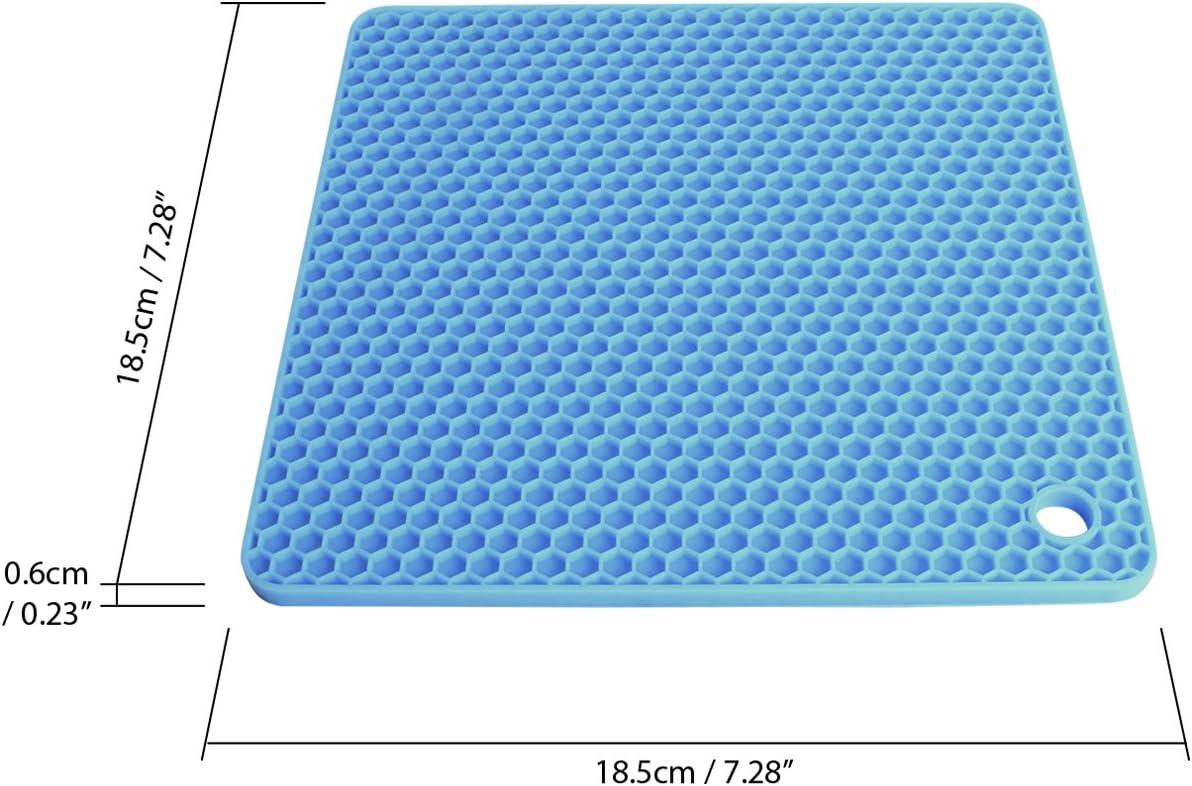 Blu e Verde igadgitz Home U6881 Set di 2 Sottopentola in Silicone Rotondo Tappetino Salvapadelle Silicone Resistente al Calore Antiscivolo 18cm