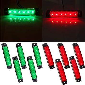 White 10 x 6 LED Clearence Truck Bus Trailer Side Marker Indicators Light Tail Taillight Brake Stop Lamp 12V