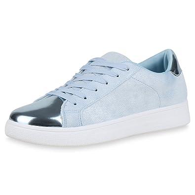 55e28dd861a3d1 SCARPE VITA Damen Sneaker Low Lack Metallic Turnschuhe Schnürer Glitzer  Schuhe 163935 Hellblau 36