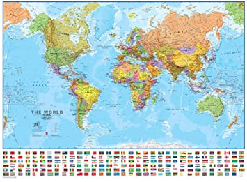 Amazon world 130 wall map laminated educational poster world 130 wall map laminated educational poster laminated poster 54 x 39in gumiabroncs Gallery
