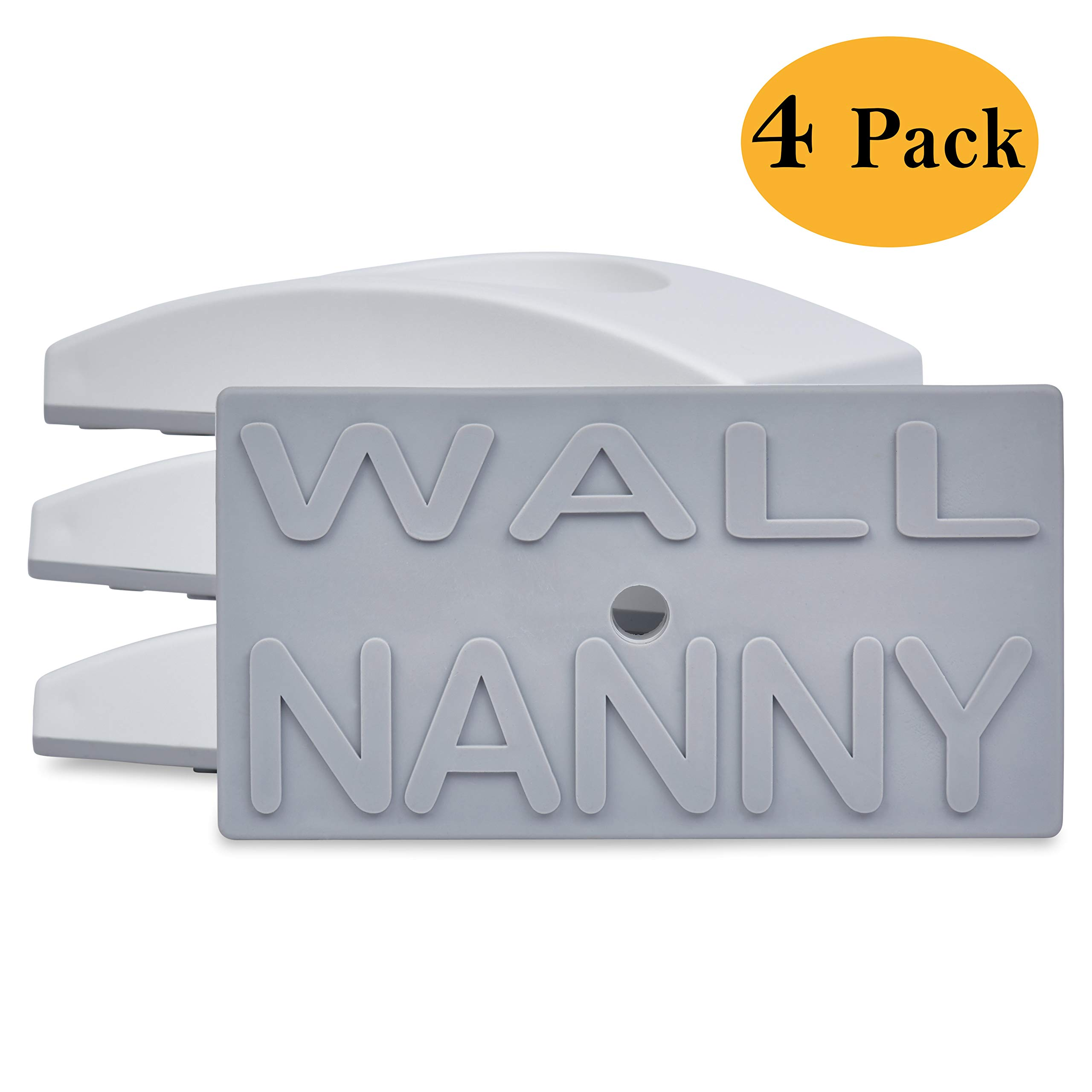 Wall Nanny - Baby Gate Wall Protector (Made in USA) Protect Walls & Doorways from Pet & Dog Gates - for Child Pressure Mounted Stair Safety Gate - No Safety Hazard on Bottom Spindles - Saver - 4 Pack by Wall Nanny
