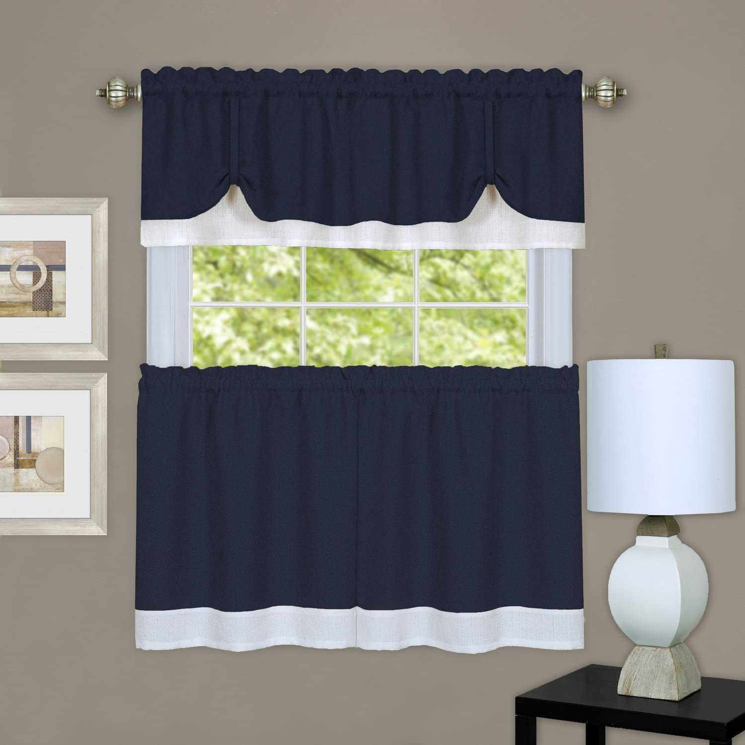 """Achim Home Furnishings Halley Window in a Bag, 56 84-Inch, Chocolate, Tier Pair 58"""" x 24"""" with 14"""" Valance, Navy & White"""