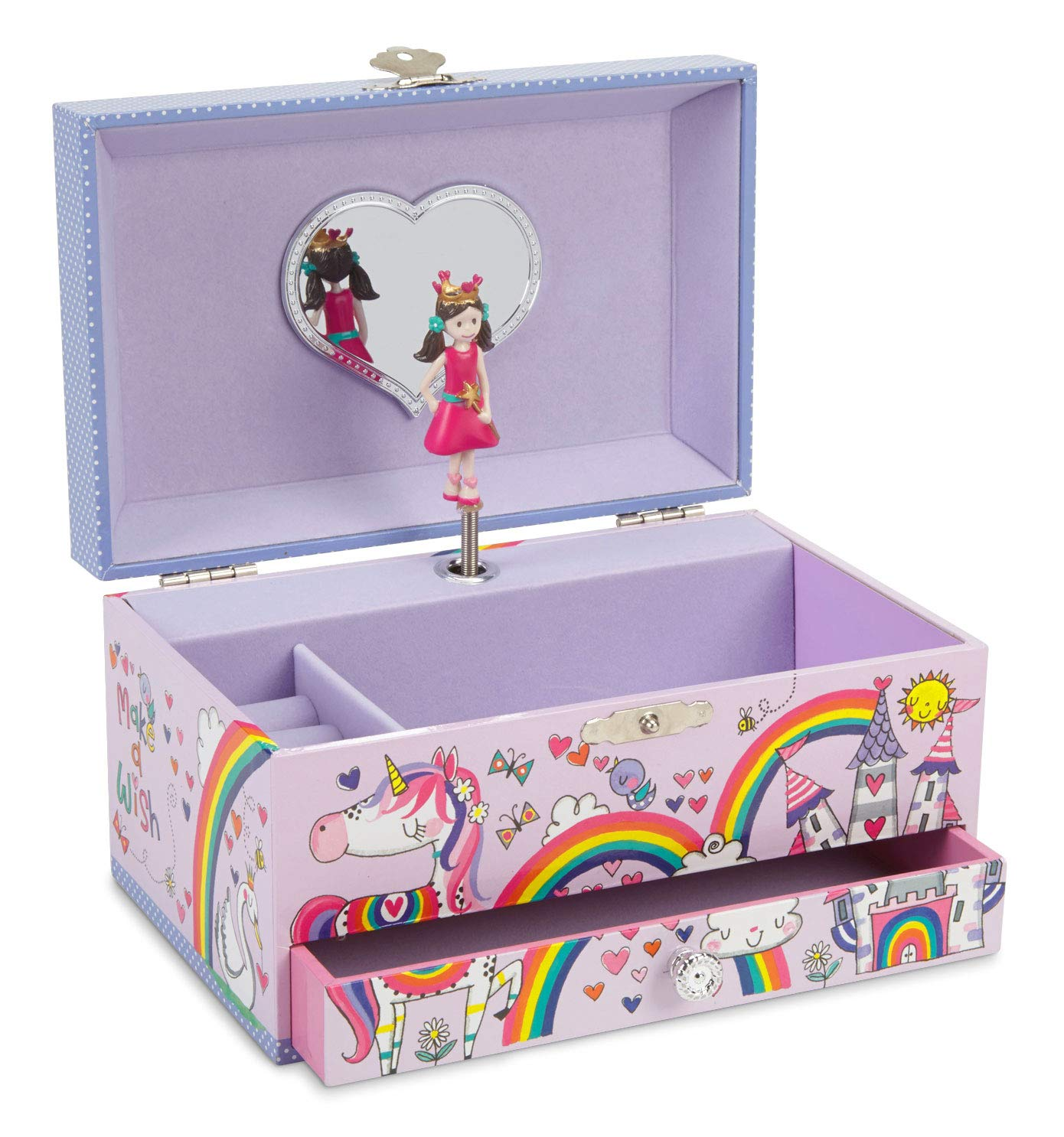 JewelKeeper Unicorn Princess Musical Jewelry Box with Pullout Drawer, Rainbow Glitter Finish, Dance The Sugar Plum Fairy Tune