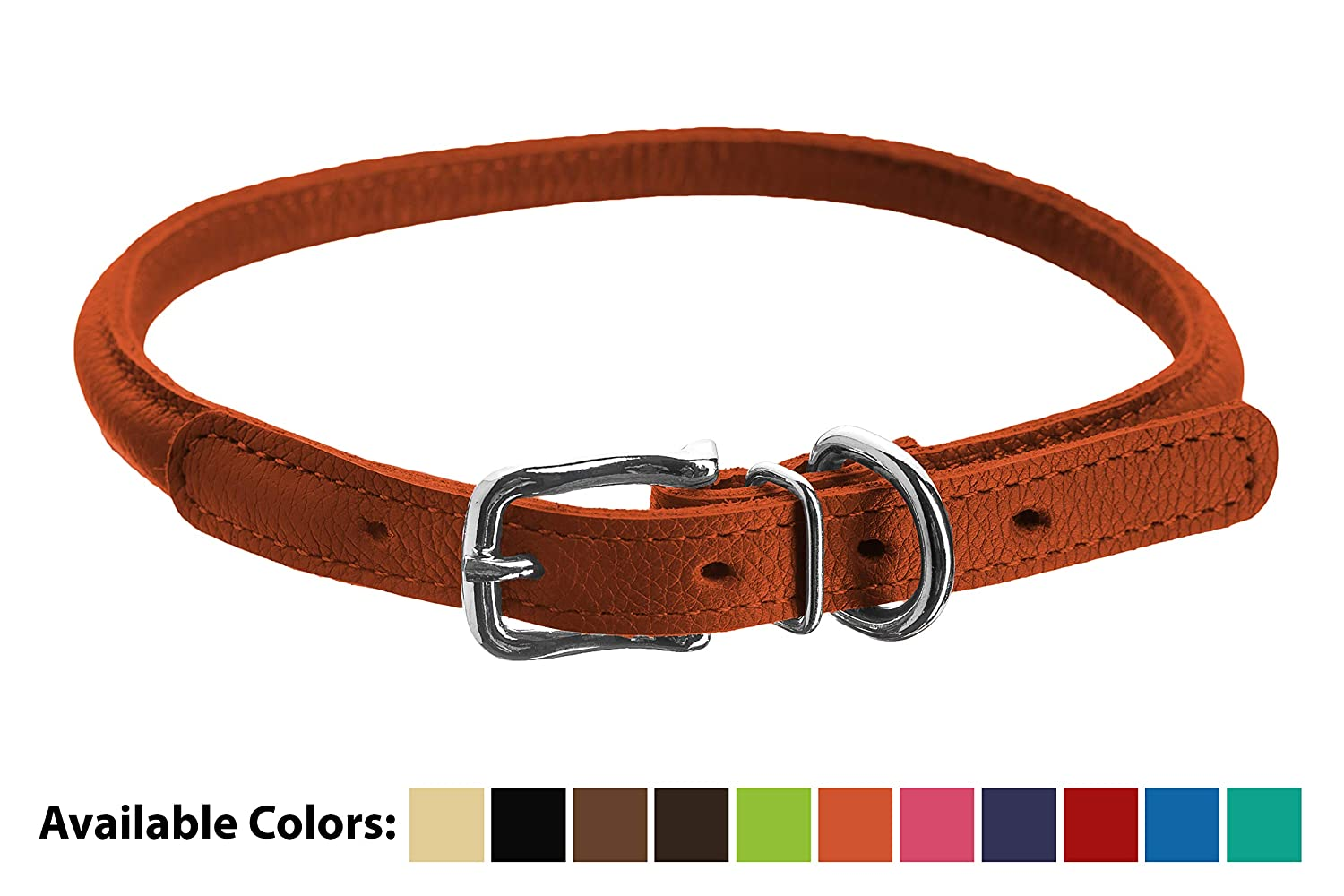 orange 15-18 x 3 8-Inch orange 15-18 x 3 8-Inch Dogline Soft Padded Rolled Round Leather Dog Collar, orange, 15-18 x 3 8-Inch