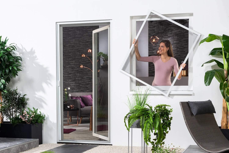 empasa Teleskop Fliegengitter Fenster Fensterbausatz FAST Alurahmen 120 x 140 Insektenschutz M/ückengitter in wei/ß braun oder anthrazit